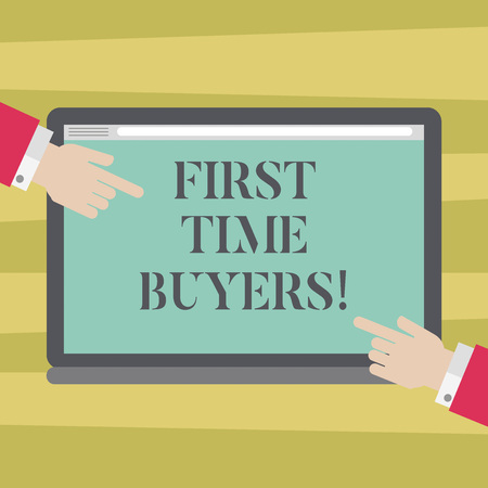 Text sign showing First Time Buyers. Conceptual photo demonstrating buying house or flat who has not previously owned Hu analysis Hands from Both Sides Pointing on a Blank Color Tablet Screen Foto de archivo