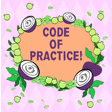 Writing note showing Code Of Practice. Business photo showcasing written rules explains how showing working particular job Floral Wreath made of Tiny Seeds Small Glossy Pomegranate and Cut Beet
