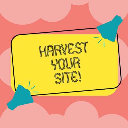 Writing note showing Harvest Your Site. Business photo showcasing time when you reap what you sow before pick or gather it Two Megaphone with Sound icon on Color Outlined Rectangular Shape
