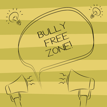 Text sign showing Bully Free Zone. Conceptual photo Be respectful to other bullying is not allowed here Freehand Outline Sketch of Blank Speech Bubble Megaphone Sound Idea Icon