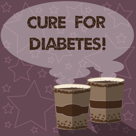 Writing note showing Cure For Diabetes. Business photo showcasing improving sensitivity of your body tissues to insulin Two To Go Cup with Beverage and Steam icon Blank Speech Bubble photo