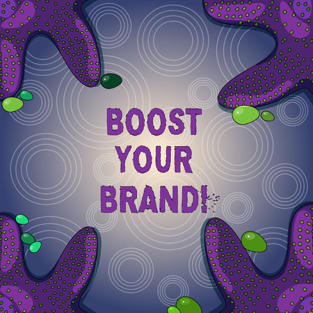 Conceptual hand writing showing Boost Your Brand. Business photo showcasing describe high levels of overall customer satisfaction Starfish on Four Corners with Pebbles for Poster Ads Cards Foto de archivo