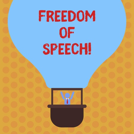Writing note showing Freedom Of Speech. Business photo showcasing power or right to express ones opinions without censorship Hu analysis Dummy Arms Raising inside Gondola Riding Air Balloon