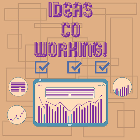 Text sign showing Ideas Co Working. Conceptual photo use of working environment by showing who are self employed Digital Combination of Column Line Data Graphic Chart on Tablet Screen