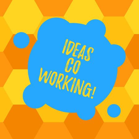 Handwriting text Ideas Co Working. Concept meaning use of working environment by showing who are self employed Blank Deformed Color Round Shape with Small Circles Abstract photo Banque d'images