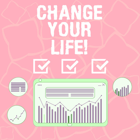 Word writing text Change Your Life. Business concept for set life goals and reward yourself when you achieve them Digital Combination of Column Line Data Graphic Chart on Tablet Screen Фото со стока