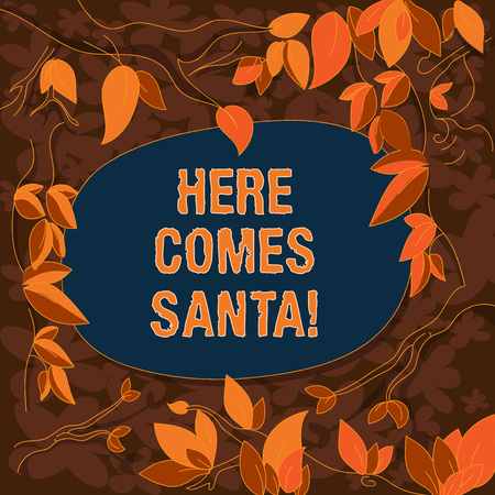Conceptual hand writing showing Here Comes Santa. Business photo showcasing Christmas song written and performed by Gene Autry Tree Branches Scattered with Leaves Blank Color Text Space 版權商用圖片