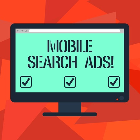 Word writing text Mobile Search Ads. Business concept for ad that can appear on webpages and apps viewed on phone Blank Computer Desktop Monitor Color Screen Mounted with Progress Bar