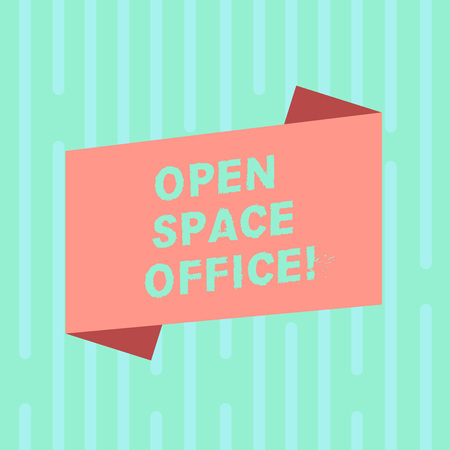 Word writing text Open Space Office. Business concept for minimizes use of small enclosed rooms as private offices Blank Color Folded Banner Strip Flat Style photo for Announcement Poster