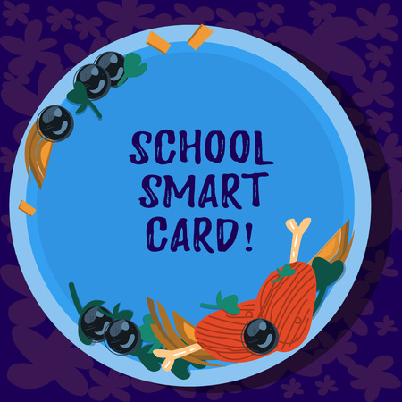 Text sign showing School Smart Card. Conceptual photo integrated circuit card to give access children enter Hand Drawn Lamb Chops Herb Spice Cherry Tomatoes on Blank Color Plate