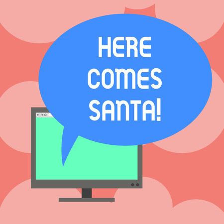 Writing note showing Here Comes Santa. Business photo showcasing Christmas song written and performed by Gene Autry Mounted Computer Monitor Blank Screen with Oval Color Speech Bubble
