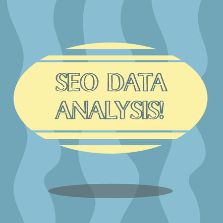 Conceptual hand writing showing Seo Data Analysis. Business photo showcasing changes to website make it more visible search engines Color Oval Shape with Horizontal Stripe Floating and Shadow