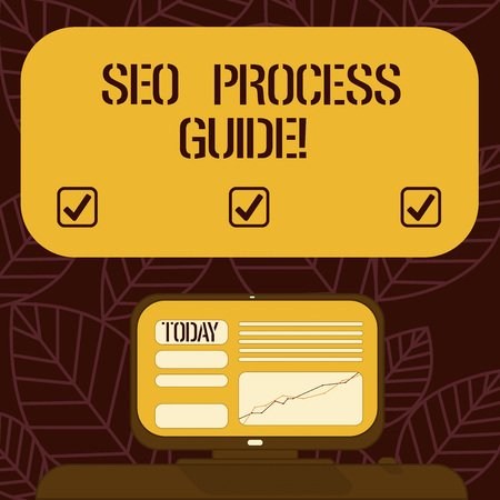 Conceptual hand writing showing Seo Process Guide. Business photo text set actions improve online visibility website in engines Mounted Computer Screen with Line Graph on Desk Text Box