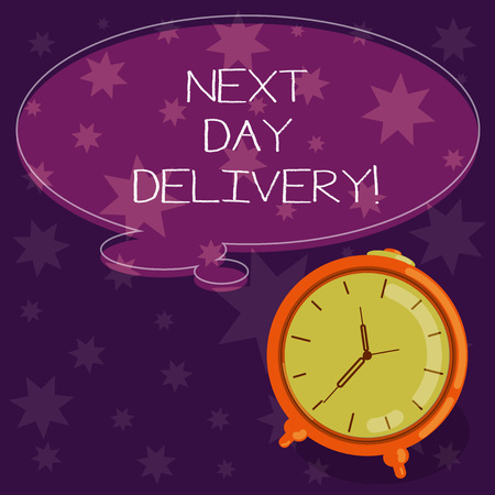 Word writing text Next Day Delivery. Business concept for service allows you have goods delivered day after order Blank Color Thought Speech Bubble with Outline and Alarm Clock photo