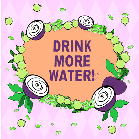 Writing note showing Drink More Water. Business photo showcasing increase amount of drinking water required varies everyday Floral Wreath made of Tiny Seeds Small Glossy Pomegranate and Cut Beet Imagens - 116612112
