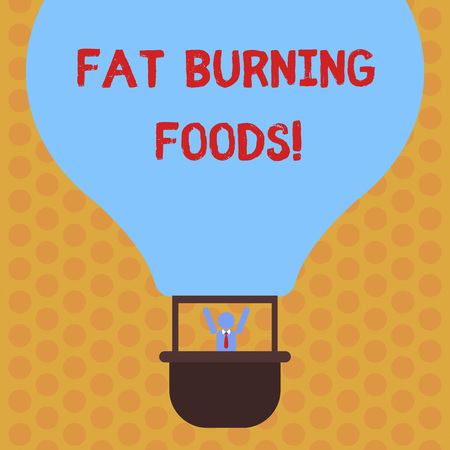 Writing note showing Fat Burning Foods. Business photo showcasing Certain types of food burn calories as you chew them Hu analysis Dummy Arms Raising inside Gondola Riding Air Balloon Archivio Fotografico