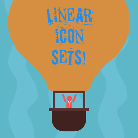 Conceptual hand writing showing Linear Icon Sets. Business photo text figures help us to go faster in way or open phone app Hu analysis Dummy Arms Raising inside Gondola Riding Air Balloon Reklamní fotografie