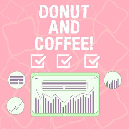 Word writing text Donut And Coffee. Business concept for common food and drink pairing in United States and Canada Digital Combination of Column Line Data Graphic Chart on Tablet Screen Фото со стока