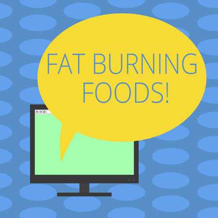 Word writing text Fat Burning Foods. Business concept for Certain types of food burn calories as you chew them Mounted Computer Monitor Blank Screen with Oval Color Speech Bubble Archivio Fotografico