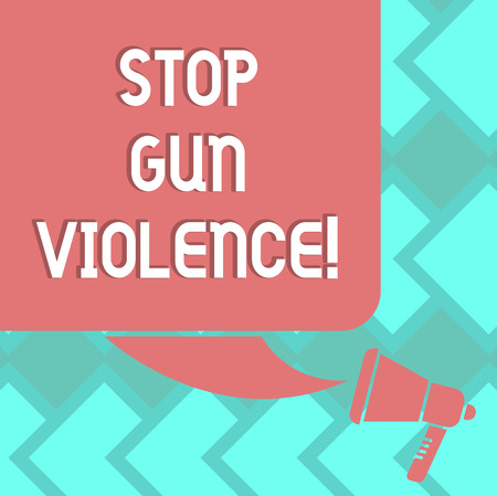 Text sign showing Stop Gun Violence. Conceptual photo danger made committed with use of gun firearm or small arm Color Silhouette of Blank Square Speech Bubble and Megaphone photo 写真素材