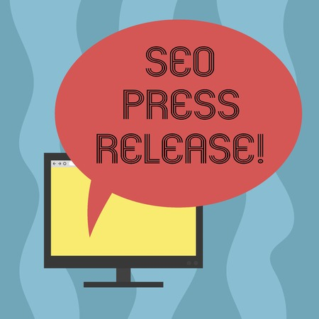 Conceptual hand writing showing Seo Press Release. Business photo showcasing make sure that links going back websites in your press Mounted Computer Blank Screen with Oval Color Speech Bubble