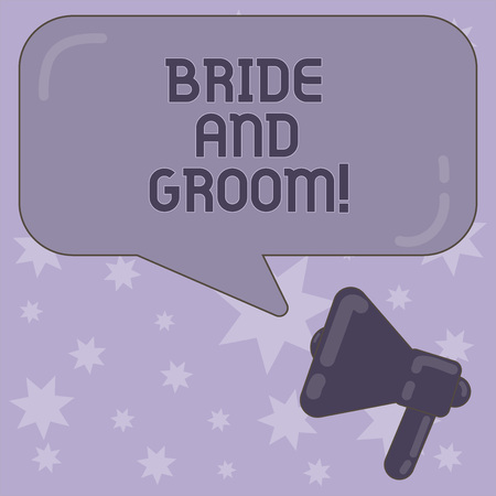 Writing note showing Bride And Groom. Business photo showcasing Man and woanalysis who are about to get married Main couple Megaphone and Rectangular Color Speech Bubble with Reflection Foto de archivo