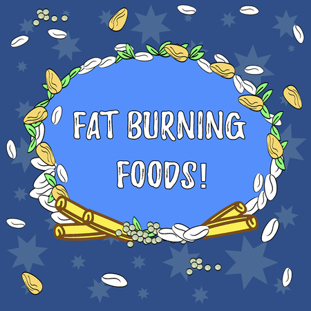 Text sign showing Fat Burning Foods. Conceptual photo Certain types of food burn calories as you chew them Wreath Made of Different Color Seeds Leaves and Rolled Cinnamon photo Archivio Fotografico