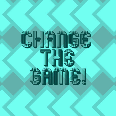 Writing note showing Change The Game. Business photo showcasing Make a movement do something different new strategies Geometrical Blank Color Squares Overlapping in Seamless Repeat Pattern