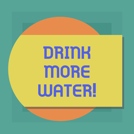 Conceptual hand writing showing Drink More Water. Business photo showcasing increase amount of drinking water required varies everyday Rectangular Color Shape with Shadow Coming Out from a Circle Banco de Imagens