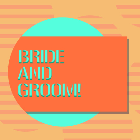 Word writing text Bride And Groom. Business concept for Man and woanalysis who are about to get married Main couple Blank Rectangular Color Shape with Shadow Coming Out from a Circle photo