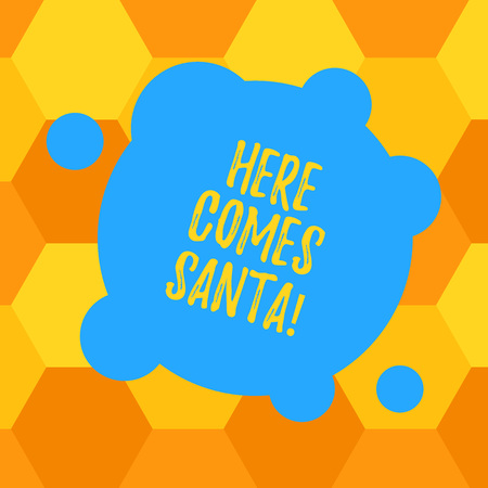 Handwriting text Here Comes Santa. Concept meaning Christmas song written and performed by Gene Autry Blank Deformed Color Round Shape with Small Circles Abstract photo