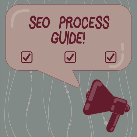 Text sign showing Seo Process Guide. Conceptual photo set actions improve online visibility website in engines Megaphone photo and Blank Rectangular Color Speech Bubble with Reflection