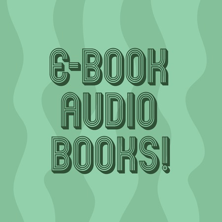 Handwriting text writing E Book Audio Books. Concept meaning recording on CD or cassette of reading novel story news Vertical Curvy Strips Abstract Shape photo in Seamless Repeat Pattern