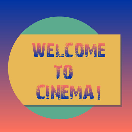 Handwriting text Welcome To Cinema. Concept meaning introduce someone to theatre where films shown for public Blank Rectangular Color Shape with Shadow Coming Out from a Circle photo 版權商用圖片