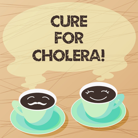 Writing note showing Cure For Cholera. Business photo showcasing restoration of lost fluids and salts through rehydration Sets of Cup Saucer for His and Hers Coffee Face icon with Blank Steam
