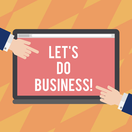 Text sign showing Let S Do Business. Conceptual photo one sells goods or services to others or countries Hu analysis Hands from Both Sides Pointing on a Blank Color Tablet Screen