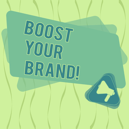 Writing note showing Boost Your Brand. Business photo showcasing describe high levels of overall customer satisfaction Megaphone Inside Triangle and Blank Color Rectangle for Announcement