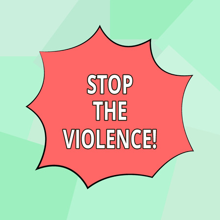 Conceptual hand writing showing Stop The Violence. Business photo showcasing program empowers youth with attitudes skills and resources Explosion Blast Scream Speech Bubble for Promotion Ads