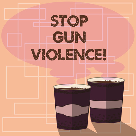 Word writing text Stop Gun Violence. Business concept for danger made committed with use of gun firearm or small arm Two To Go Cup with Beverage and Steam icon Blank Speech Bubble photo
