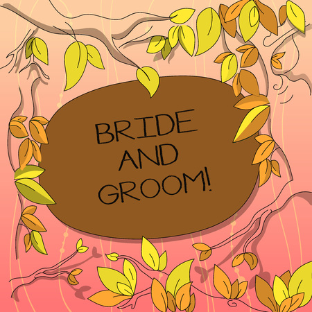 Text sign showing Bride And Groom. Conceptual photo Man and woanalysis who are about to get married Main couple Tree Branches Scattered with Leaves Surrounding Blank Color Text Space