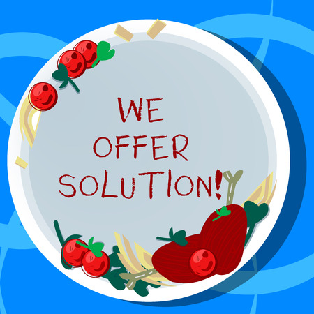 Conceptual hand writing showing We Offer Solution. Business photo showcasing give means of solving problem or dealing with situation Hand Drawn Lamb Chops Herb Spice Cherry Tomatoes on Plate