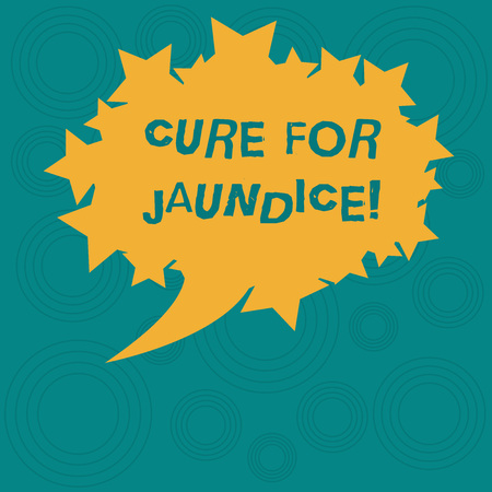 Conceptual hand writing showing Cure For Jaundice. Business photo showcasing often disappears on its own within two or three weeks Oval Color Speech Bubble with Stars as Outline Text Space