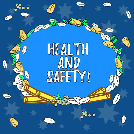Text sign showing Health And Safety. Conceptual photo regulation and procedures intended prevent accident injury Wreath Made of Different Color Seeds Leaves and Rolled Cinnamon photo