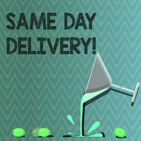 Text sign showing Same Day Delivery. Conceptual photo order will leave our warehouse Same date you ordered Cocktail Wine Glass Pouring Liquid with Splash Grapes and Shadow photo Banco de Imagens