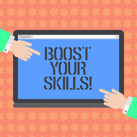 Writing note showing Boost Your Skills. Business photo showcasing Improve ability to do something well and train hard Hu analysis Hands Pointing on a Blank Color Tablet Screen