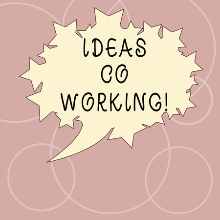Word writing text Ideas Co Working. Business concept for use of working environment by showing who are self employed Blank Oval Color Speech Bubble with Stars as Outline photo Text Space