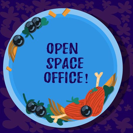 Text sign showing Open Space Office. Conceptual photo minimizes use of small enclosed rooms as private offices Hand Drawn Lamb Chops Herb Spice Cherry Tomatoes on Blank Color Plate