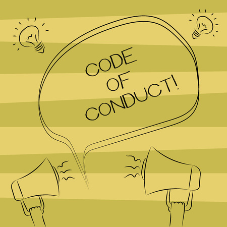 Text sign showing Code Of Conduct. Conceptual photo Ethics rules moral codes ethical principles values respect Freehand Outline Sketch of Blank Speech Bubble Megaphone Sound Idea Icon