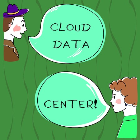 Writing note showing Cloud Data Center. Business photo showcasing off premise form computing that stores data on Internet Hand Wo analysis Talking photo with Blank Color Speech Bubble