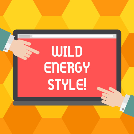 Handwriting text Wild Energy Style. Concept meaning made near from technologies impose no threat to wildlife Hu analysis Hands from Both Sides Pointing on a Blank Color Tablet Screen